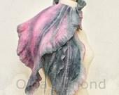 Scarf. Felted Scarf .Nuno Felted Scarf .Hand dyed.Handmade wool,tencel and silk scarf.