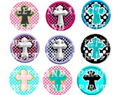 1 inch or 1.5 inch round bottle cap glass pendant cross images