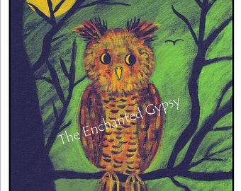 Autumn Owl Print 8 x 10 - FRAMED