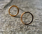 Small hoop stud earrings in 14 karat gold fill