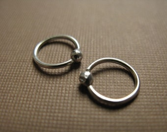 Sterling silver ball end hoop earrings