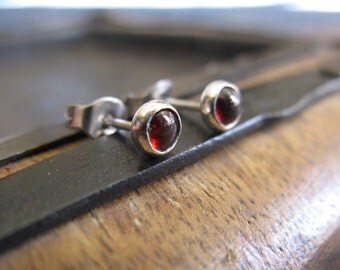 Garnet stud earrings