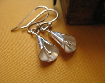 Small sterling silver lily earrings