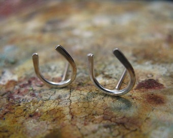 Horseshoe Stud Earrings Sterling Silver
