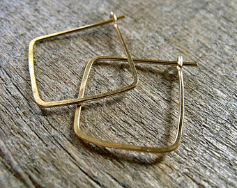 Square Hoop Earrings Gold Fill