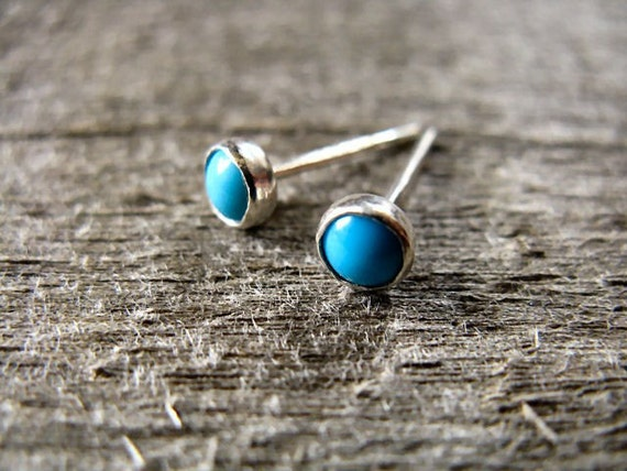 Turquoise Stud Earrings Stering Silver
