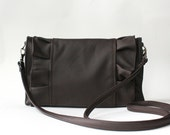 SALE Brown leather purse with ruffles