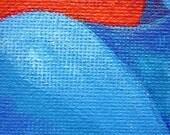Blue Abstract Nude Maori Style Tattoo Original Acrylic Mini Painting OSWOA