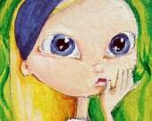 HOLD for bonnieshapiro Alice in Wonderland Big Eyed Puzzled girl mixed media original ousider folk art