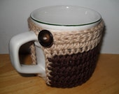 handmade crocheted coffee mug cup cozy in chocolate brown and cream taupe