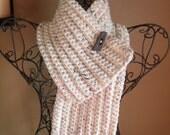 crocheted chunky cowl scarflette scarf in oatmeal ivory cream fleck