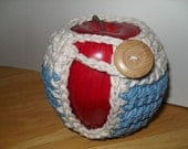 handmade crocheted apple cozy or apple jacket or apple coozie in beautiful country blue and ecru eco friendly