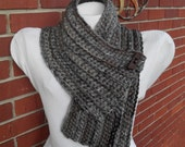 crocheted chunky cowl scarflette scarf with button in grey gray marble