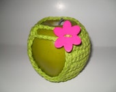 handmade crocheted apple cozy or apple jacket or apple coozie in adorable lime green with hot pink flower button eco friendly