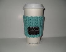 crocheted caffiene cup cozy paper cup sleeve in aruba sea blue