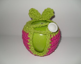 crocheted apple cozy or fruit cozy in hot pink and lime green