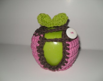 crocheted apple cozy or fruit cozy in cotton candy pink and chocolate brown