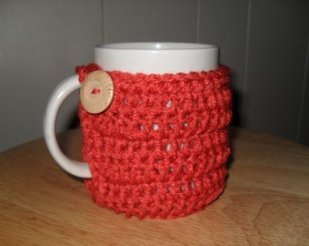 handmade crocheted mug cozy or cup cozy in paprika