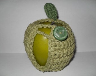 crocheted apple cozy or fruit cozy in country green with dark sage green leaf eco friendly