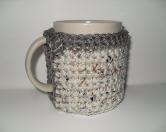 crocheted cup cozy mug cozy in oatmeal fleck with gray trim