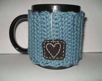 handmade crocheted tea mug cozy or coffee mug cozy in beautiful vintage teal