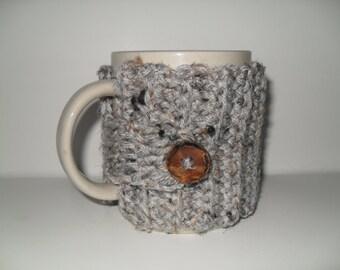 crocheted mug cozy coffee mug cozy tea cup cozy mug wrap in grey gray marble