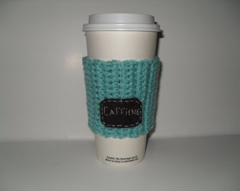 crocheted caffiene cup cozy paper cup sleeve in aruba sea blue