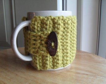 crocheted coffee mug cozy tea mug cozy mug wrap in pea green