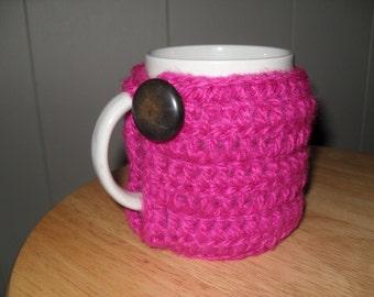 handmade crocheted coffee mug cozy or tea mug cozy or cup cozy in hot pink