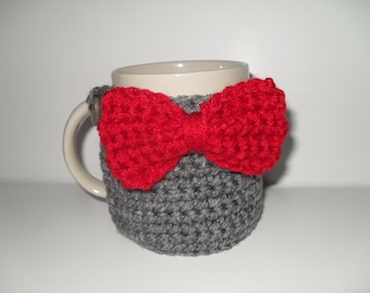 crocheted coffee mug cozy tea mug cozy cup cozy in heather gray with red bow bowtie