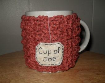 Crocheted Cup of Joe mug cozy or cup cozy in cinnamon