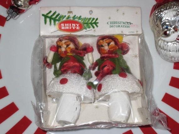 Vintage Shiny Brite Elf Ornaments 1950s