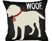 WOOF- SALE-Personalized pillow with your dog's name-Yellow LAB-Eco-friendly 20x20 Pillow-Various color choices
