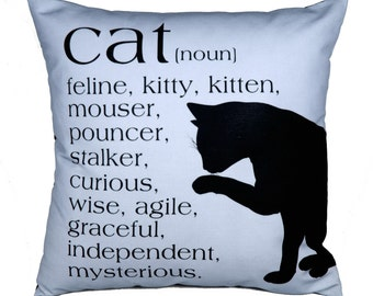 OVERSTOCK SALE-CAT-Noun-A tribute to our feline friends-Eco-friendly 20x20 Pillow-in sand or sky blue