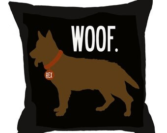 WOOF- SALE-Personalized pillow with your dog's name-German Shepherd-Eco-friendly 20x20 Pillow-Various color choices