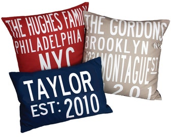 2 CUSTOM- Design Your Own Destination Pillows-in your choice of Color.
