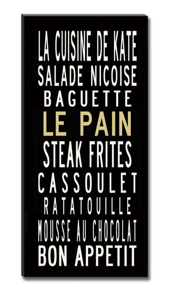 CUSTOM- French Cuisine- Culinary Kitchen Sign- Personalized- Gallery-Wrapped Canvas, 22x42