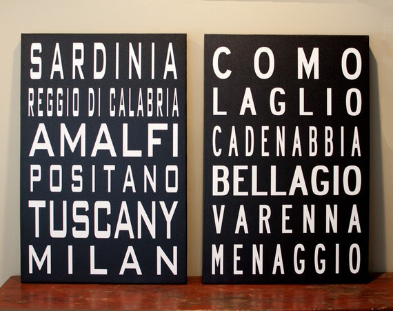 The Towns of  ITALY,  Pair of 20x30 gallery wrapped canvas wall art