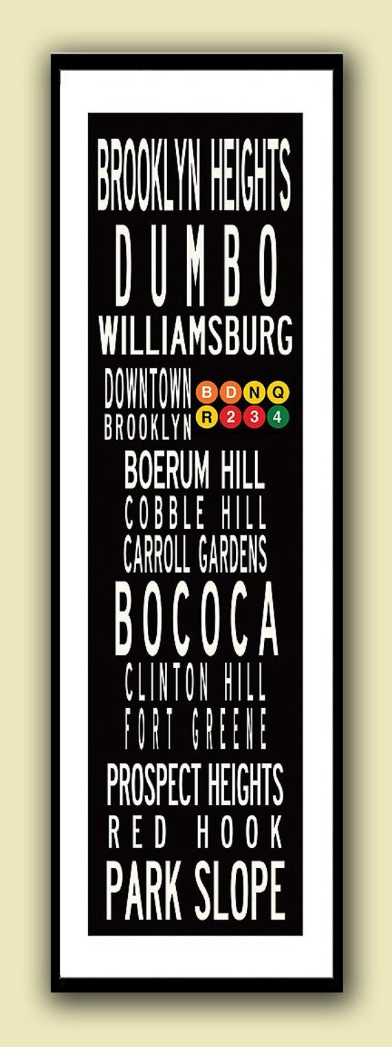 12x36  Poster Print with or without white border, Brooklyn Neighborhoods or City of your choice