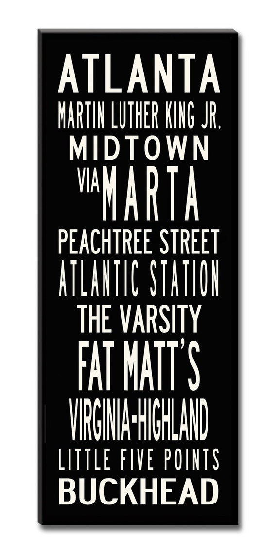 SALE PRICE-ATLANTA, Large 24x60 Gallery-Wrapped Canvas Subway Art