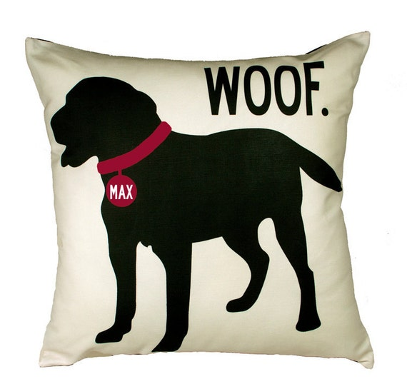 WOOF- SALE-Personalized pillow with your dog's name-Black Lab 20x20 Pillow-Various color choices
