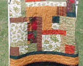 Fall Harvest Thanksgiving Quilt Throw Wall Hanging Lap Quilt  57x72 SALE WAS 220.00