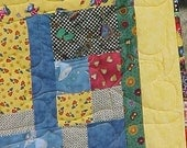 FUN SCRAPPY COLORFUL  PATCH WORK QUILT  57 X 72  NOW ON SALE WAS 150.00