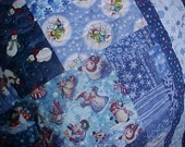 LOTS OF SNOWMEN SNOWFLAKES and BLUES QUILT/THROW  56 X 70