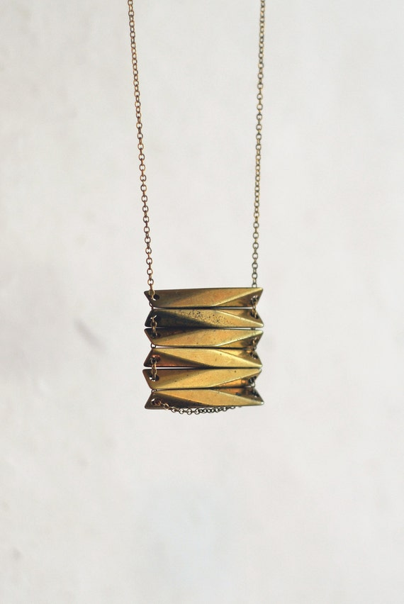 Brass Geometric Stacked Necklace