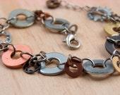 Charm Bracelet  Chain Mixed Metal Hardware Jewelry Eco Friendly Industrial