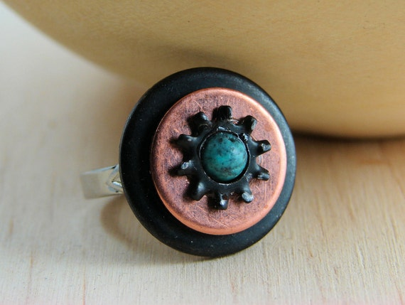Cocktail Ring Adjustable Copper and Black Washer Hardware with Turquoise Bead Accent
