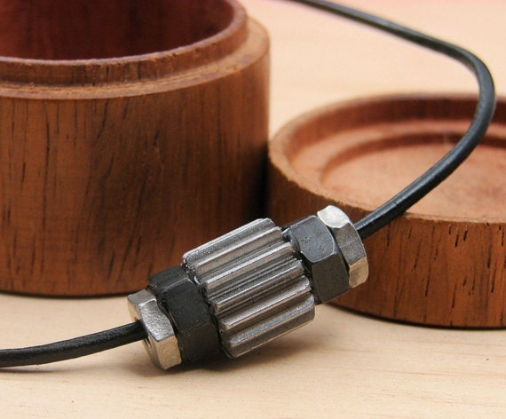 Mens Necklace Pendant Steampunk Hardware on Leather Cord