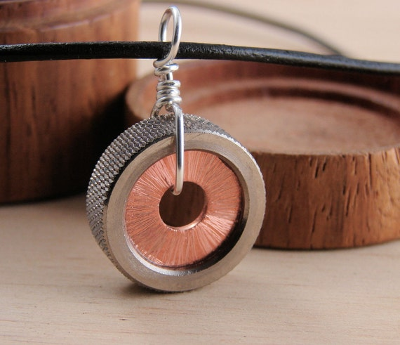 Copper Statement Necklace Pendant Hardware Jewlery Industrial Washers on Leather Cord