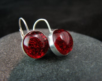 Red Glass Earrings - Sterling Silver Leverback Earrings - Candy Apple Red